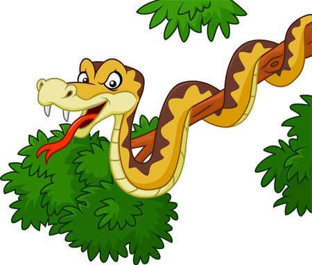 vector illustration of Cartoon snake on branch Illustration