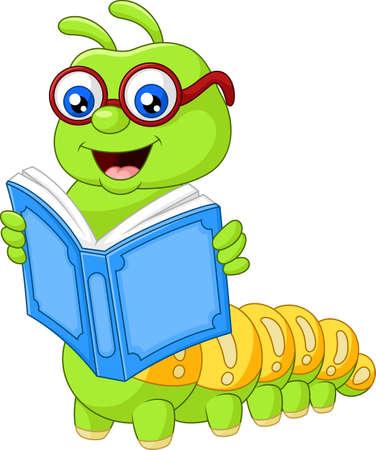 ilustración vectorial de la lectura de libros de Caterpillar