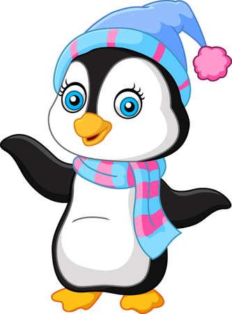 vector illustration of Cartoon penguin presenting Illustration
