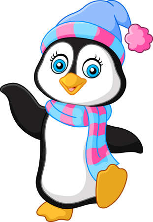 vector illustration of Penguin use a shawl and hat cap