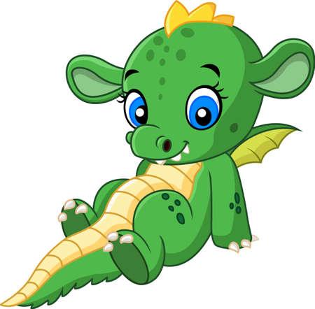 legends: vector illustration of Cartoon baby dragon sitting