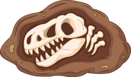 Cartoon head dinosaur fossil Stock Illustratie