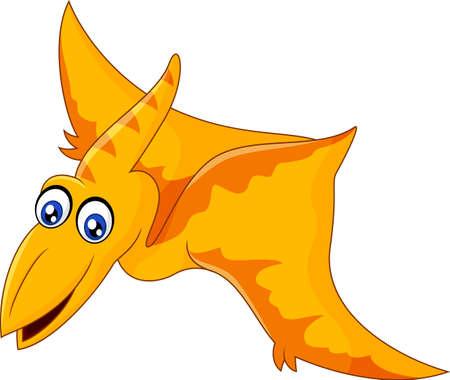 vector illustration of Cartoon pterodaytyl flying