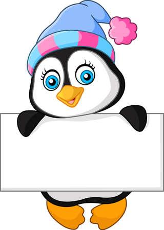Cute little penguin holding blank sign Imagens - 60069216