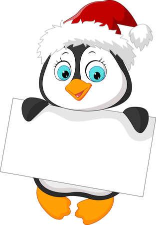 Cute little penguin holding blank sign