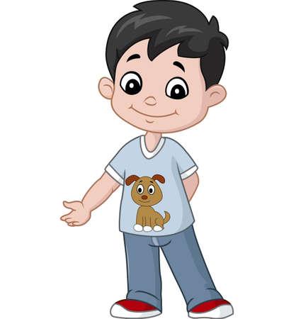 Happy little boy cartoon  イラスト・ベクター素材
