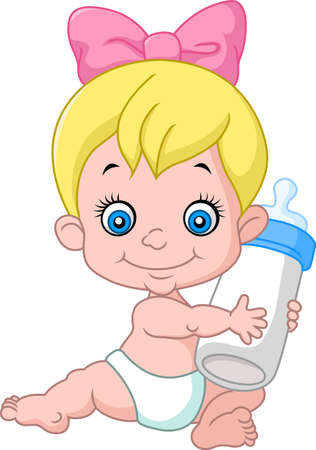 baby girl: Cartoon baby girl holding bottle