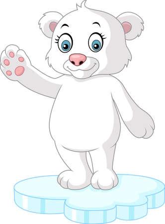 cute bear: Cute polar bear waving
