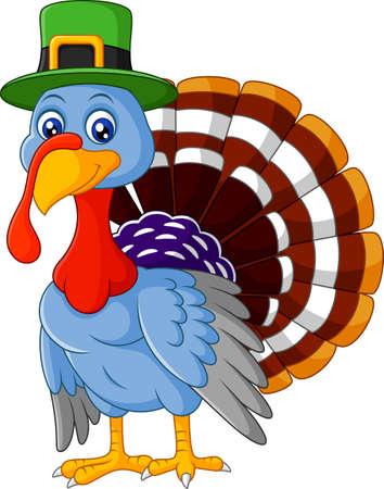 strut: Cartoon turkey wearing green cap Illustration