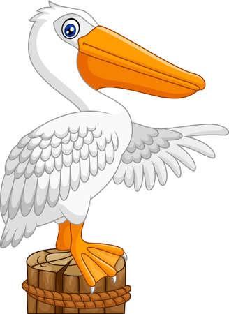 Cartoon Pelican in the bay Illustration