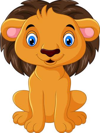 Happy lion cartoon sitting