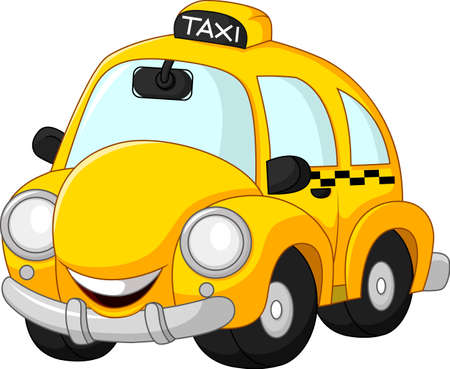 Funny taxi cartoon isolated on white background