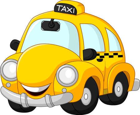Zabawna cartoon taxi samodzielnie na białym tle Ilustracje wektorowe