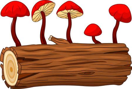 Illustratie van de boomstam en paddestoel