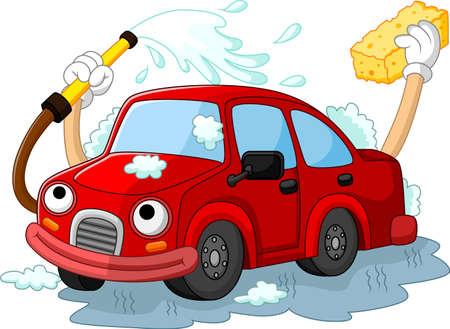 car wash: Funny car wash cartoon