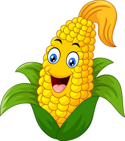Sweet Corn Character smiling Vectores