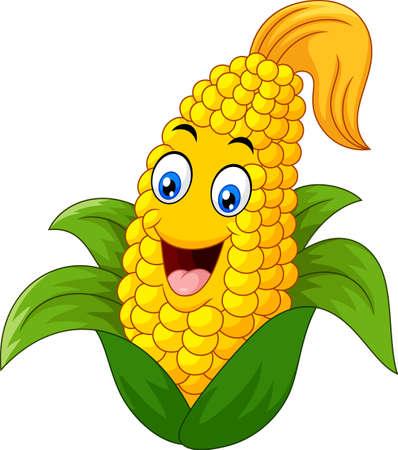 Sweet Corn Character smiling Vettoriali