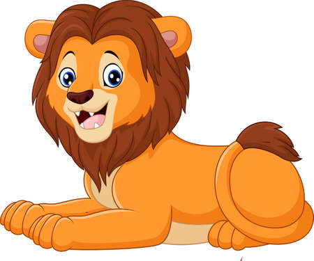 lie down: Cartoon lion sitting isolated on white background Illustration