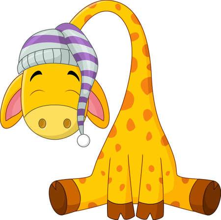 Cartoon giraffe cartoon de couchage Banque d'images - 60400998