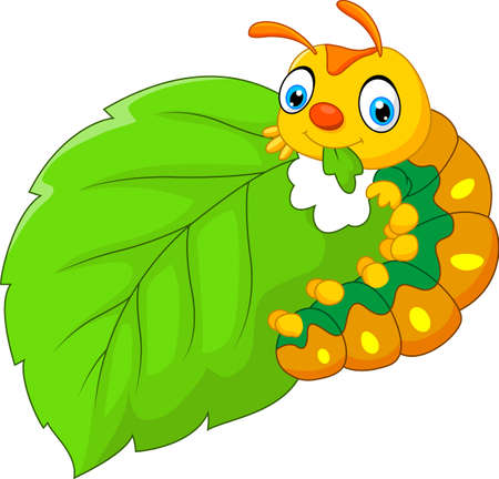 cartoon caterpillar eating leaf