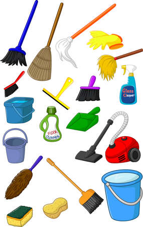 equipment: Collection of cleaner equipment Illustration