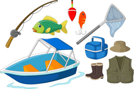 fishing equipment: Collection of fishing equipment Illustration