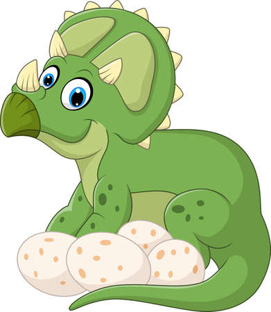 triceratops: Cartoon triceratops with egg isolated on white background Illustration