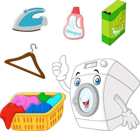auto washing: Collection of laundry equipment cartoon