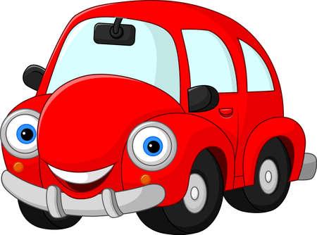 Cartoon funny red car
