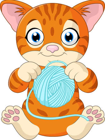 baby playing toy: Cute cat cartoon playing with ball of yarn
