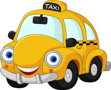 Cartoon funny yellow taxi  イラスト・ベクター素材