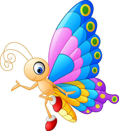 Cute butterfly cartoon presenting Ilustracja