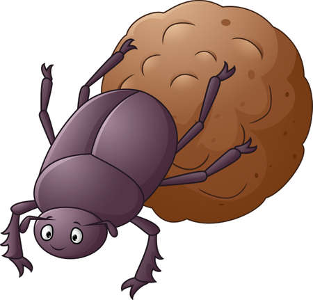 Dung Beetle with a Big Ball of Poop Cartoon