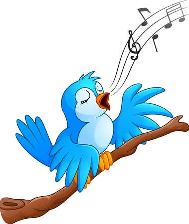 Cartoon bird sing on the branch