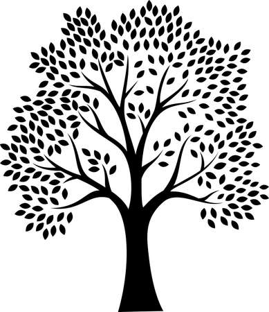 Black tree silhouette isolated on white background Vettoriali