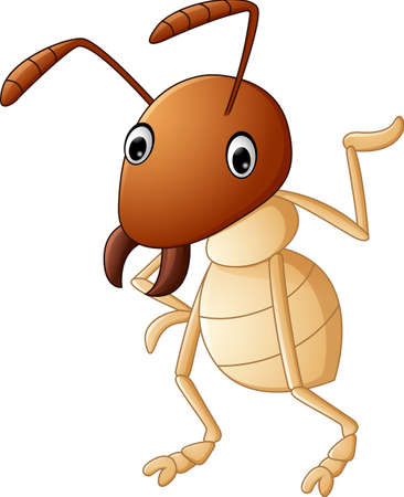 termite: Cartoon funny termite presenting Illustration