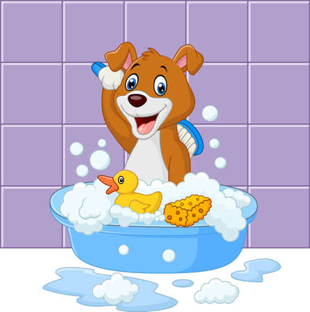 Cute cartoon dog having bath
