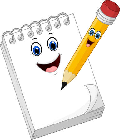 note paper: Cartoon funny note book paper with pencil