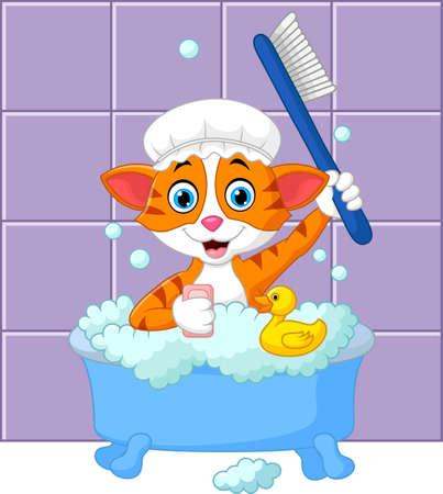 scrubbing: Cartoon funny cat bathing time