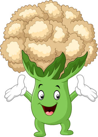 Happy cauliflower cartoon