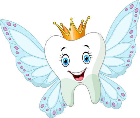 Cute tooth fairy flying Vectores