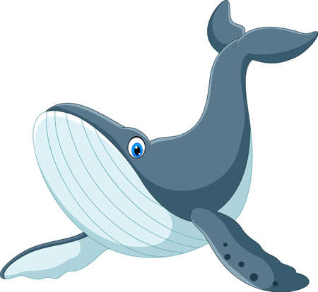 Happy blue whale cartoon