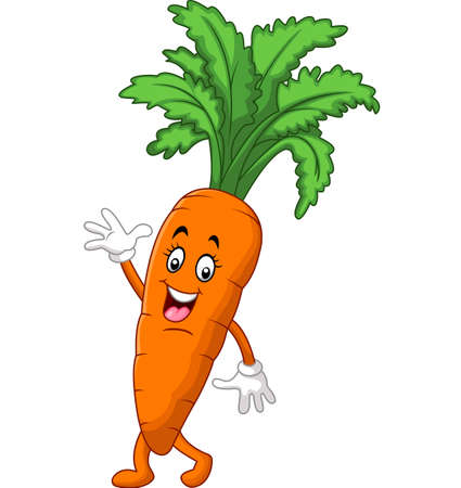 plant stand: Cartoon funny carrot waving hand