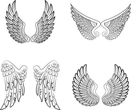 Cartoon engelenvleugels collectie set