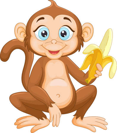 Cartoon monkey holding banana Illustration