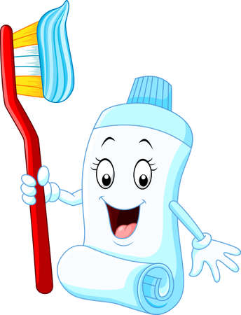 Cartoon funny toothpaste and toothbrush
