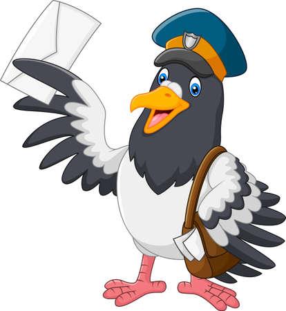 delivering: Cartoon funny pigeon bird delivering letter