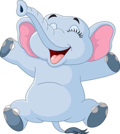 Cartoon funny elephant isolated on white background