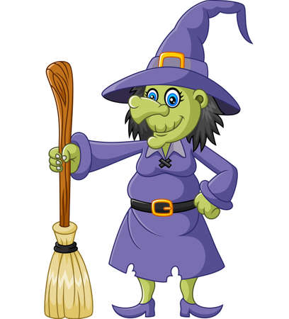 harming: The ugly witch holding flying broom