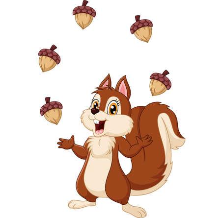 cartoon: Cartoon funny squirrel juggling acorn